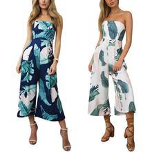 a48d782d0c8f chesmono 2019 Women s Bohemia Palm Leaf Prints Sexy Non-slip Tube Top Style  Rompers