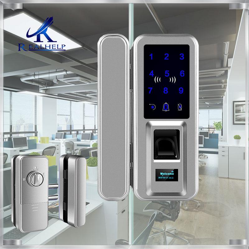 Office And Homes Biometric Fingerprint Smart Lock Double Glass Doors Keyless Fingerprint Lock Passcode Digital Rfid Door Lock