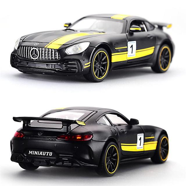 For 1:32 Mercedes-Benz AMG GT3 Alloy Model Sound And Light Pull Back Toy Car Room Decoration Ornaments Children's Toys Gift
