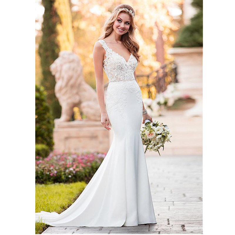 Cheap White Ivory Wedding Dresses Mermaid Lace Appliques: Eightale Mermaid Wedding Dress V Neck Appliques White