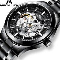 Megalith marca superior de luxo relógios esqueleto para homens aço prata mecânica automática relógios pulso à prova dmonágua relógio montre homme|Relógios mecânicos| |  -