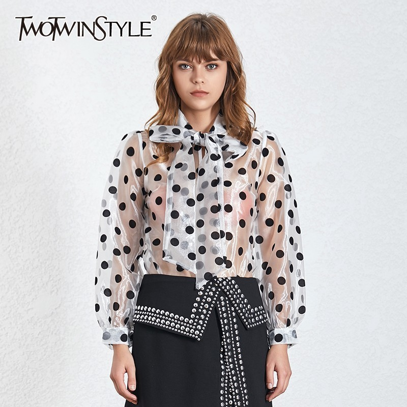 TWOTWINSTYLE Casual Perspective Polka Dot Women Blouse Bow Collar Lantern Sleeve Loose Shirt Female Summer 2019 Fashion New