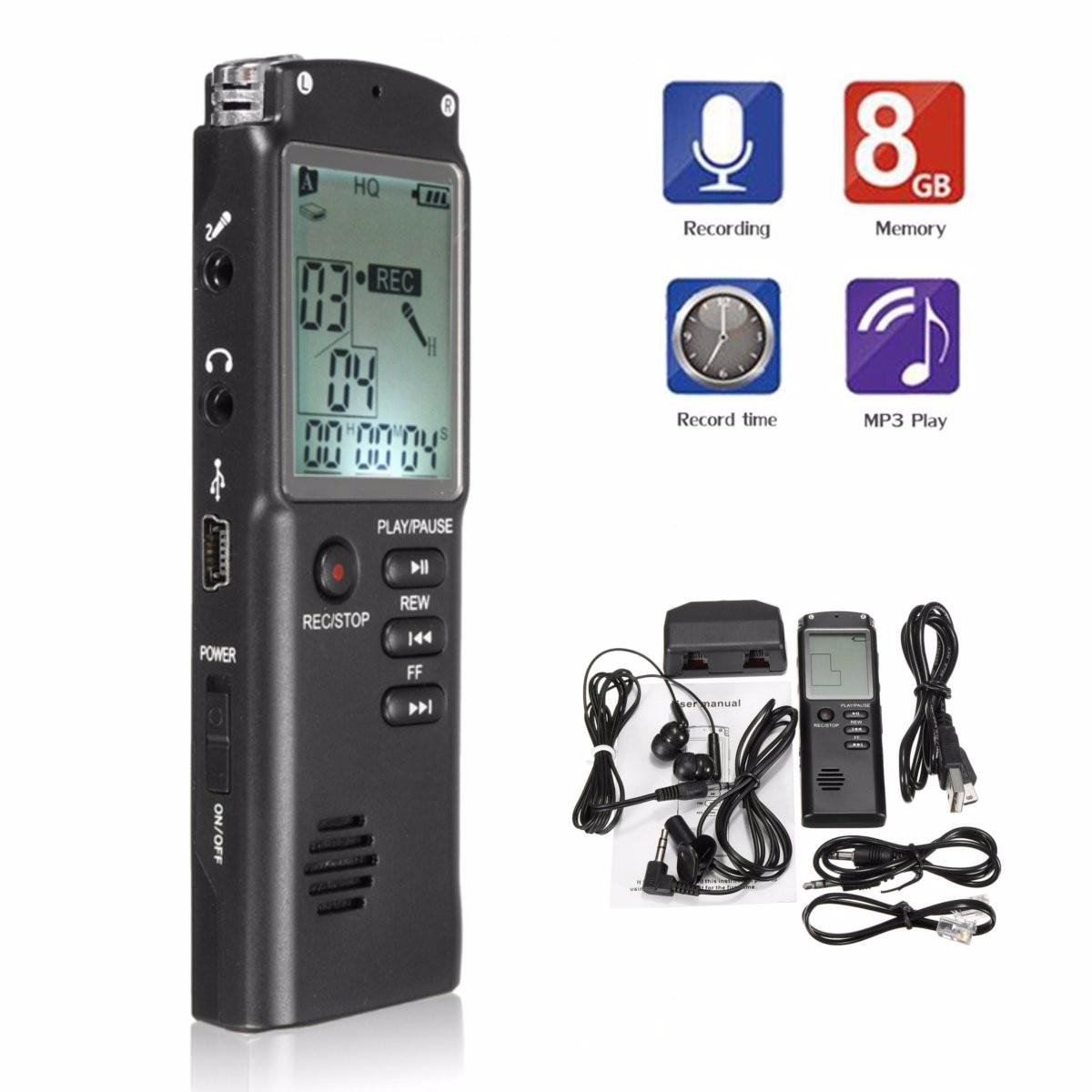 Leory Voice Recorder Usb Professional 8g Digital Voice Recorder Lcd Bildschirm Zwei-weg Mikrofon Sound Aufnahme Lärm Reduktion Digital Voice Recorder Unterhaltungselektronik