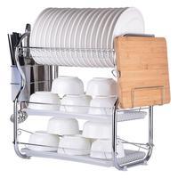 Multifunctional Storage Dish Drying Rack 3 Tier Chrome Dish Drainer Rack Kitchen Storage With Drainboard 3 Tier Dishrack