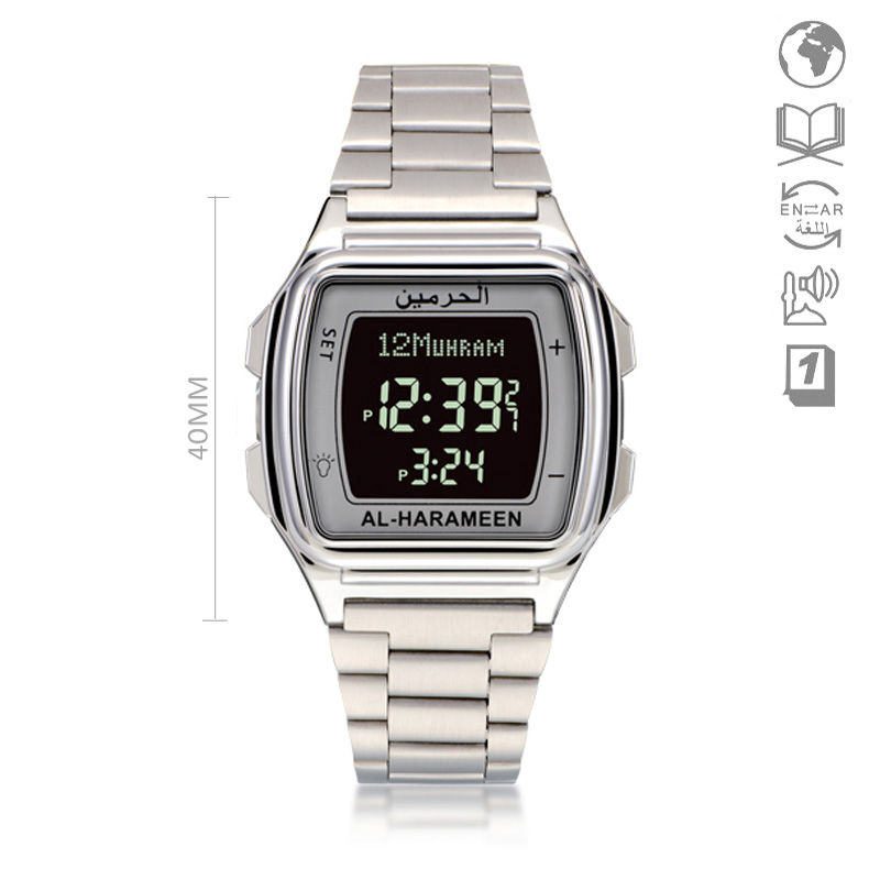 Wristwatch Islam Alfajr-Time Stainless-Steel Digital Muslim Kids with Qibla for Students