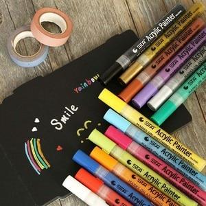 Image 2 - 12 24 צבעים/סט STA אקריליק צבע קבוע מרקר עט עבור קרמיקה רוק זכוכית פורצלן ספל עץ בד בד ציור
