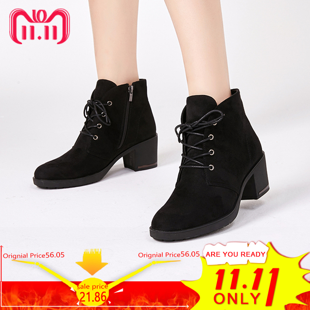 Ankle Boots Suede Leather Short Booties Lace Up Boots Women With Fur Shoes 5