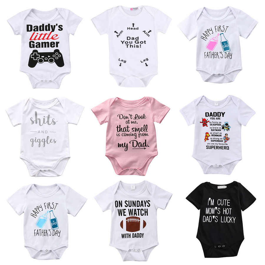 cb2a971f9780 Newborn Toddler Baby Boys Girls Rompers Funny Letter Cartoon Jumpsuit For  Infant Boys Girls Short Sleeve