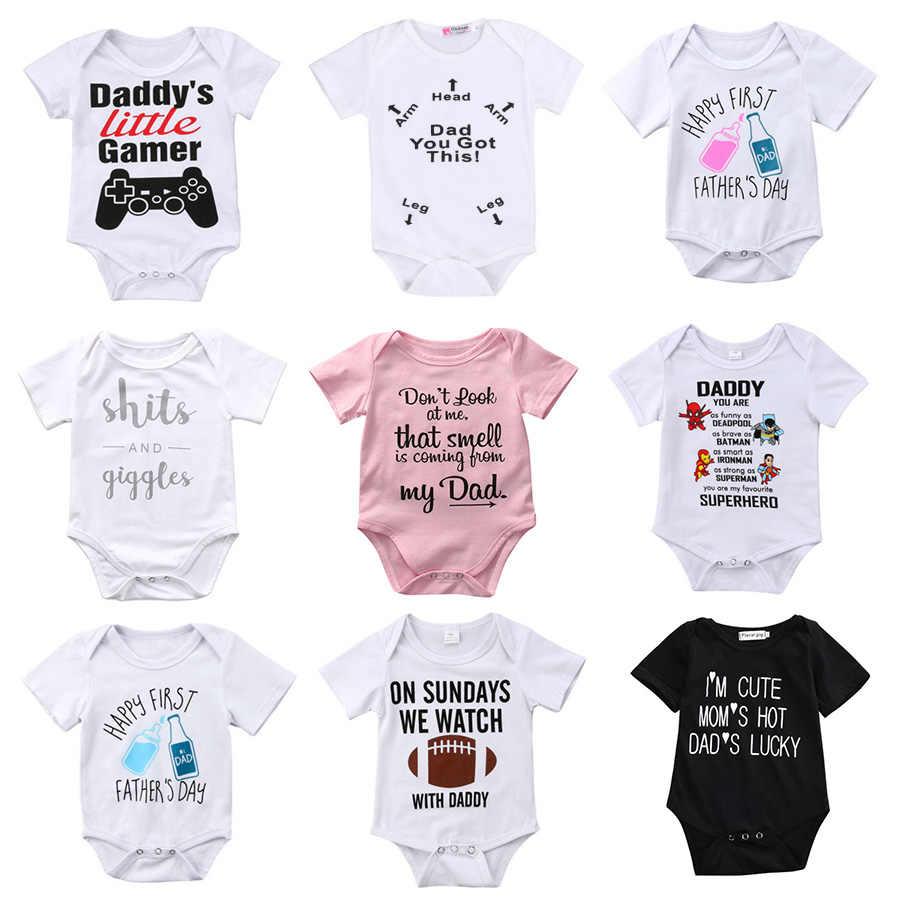 Newborn Toddler Baby Boys Girls Rompers Funny Letter Cartoon Jumpsuit For Infant  Boys Girls Short Sleeve 9b6daf771