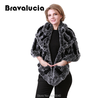 Bravalucia Real Rex Rabbit Fur Winter Scarf Women Shawl Pashmina Fur Scarf Cashmere Scarf Poncho Women Hijab Scarves Fur Collar