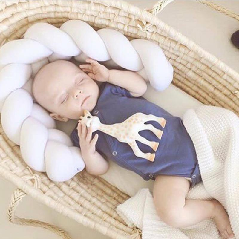 250/200/100cm 200cm Newborn Baby Bed Bumper Infant Room Decor Crib Protector Pacification Toy Pure Color Weaving Knot For Kids