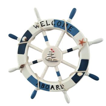 1 pudełko 45CM łódka ster drewniana plaża styl śródziemnomorski Nautical wysyłka kierownica dekoracje ścienne do dekoracji salonu tanie i dobre opinie Duszpasterska Drewna Wiszące