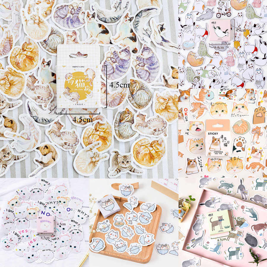 45Pcs/Box Cute Cat Stickers Kawaii Stationery Stickers Cartoon Adhesive Stickers For Decorative Diary Scrapbooking Photo Album