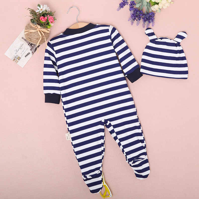 8720f7d7931 ... Retail Baby Romper Infant Romper Newborn Boys Girls Polo Jumpsuit With Hat  Hoodie Striped romper Baby ...