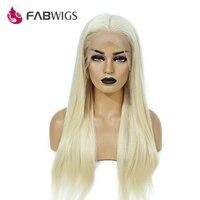 Fabwigs 200% плотность #613 блондинка полный шнурок человеческих волос парики предварительно сорвал с волосы младенца Glueless парик человеческих Вол