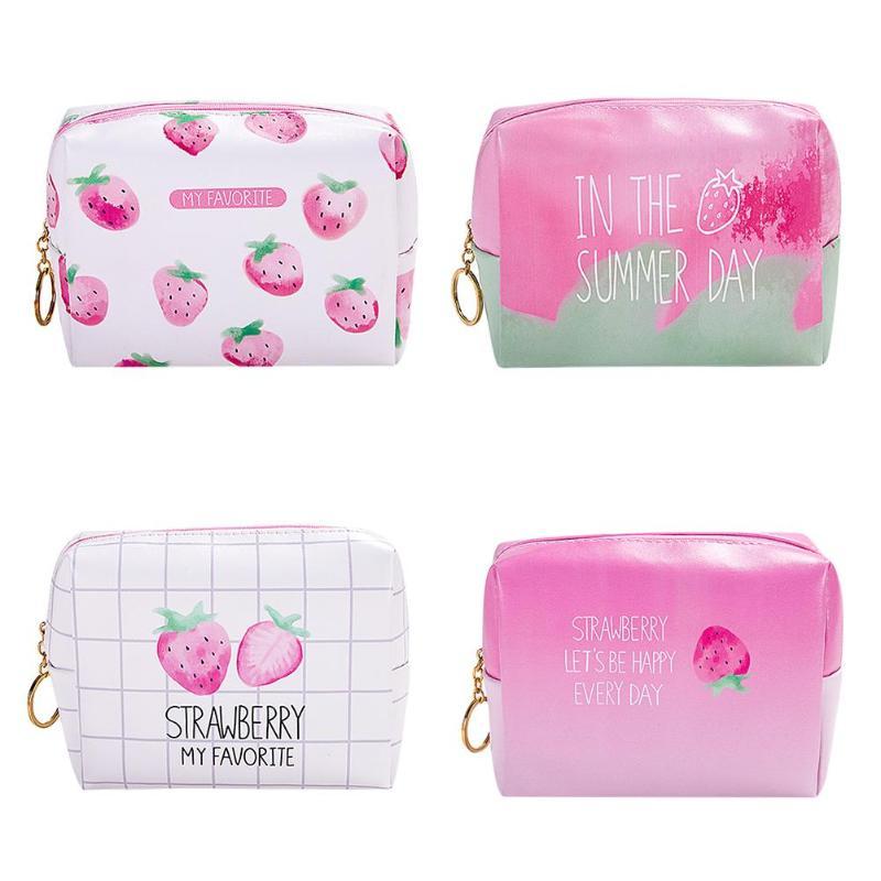 Damentaschen Kreative Erdbeere Muster Kosmetik Große Kapazität Lagerung Tasche Koreanische Paket Tragbare Waschen Tasche Frauen Reisen Make-up Veranstalter SorgfäLtige Berechnung Und Strikte Budgetierung