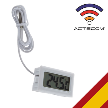 ACTECOM Termómetro Digital Nevera con Sonda empotrable Blanco Termometro Digital con Sonda...