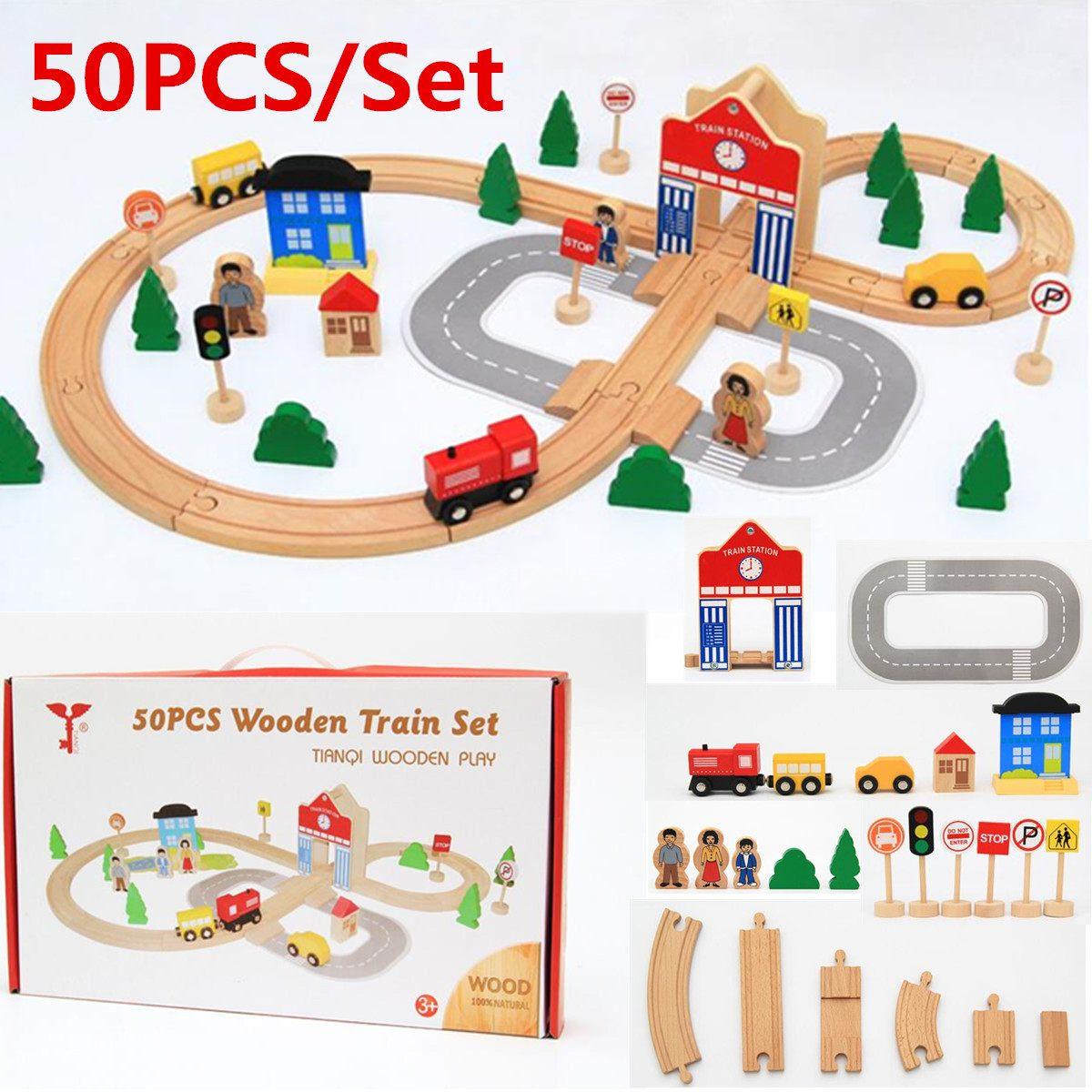 50 pièces en bois Train voie chemin de fer pont électrique Train piste ensemble magnétique course piste blocs véhicules enfants jouets enfants cadeaux
