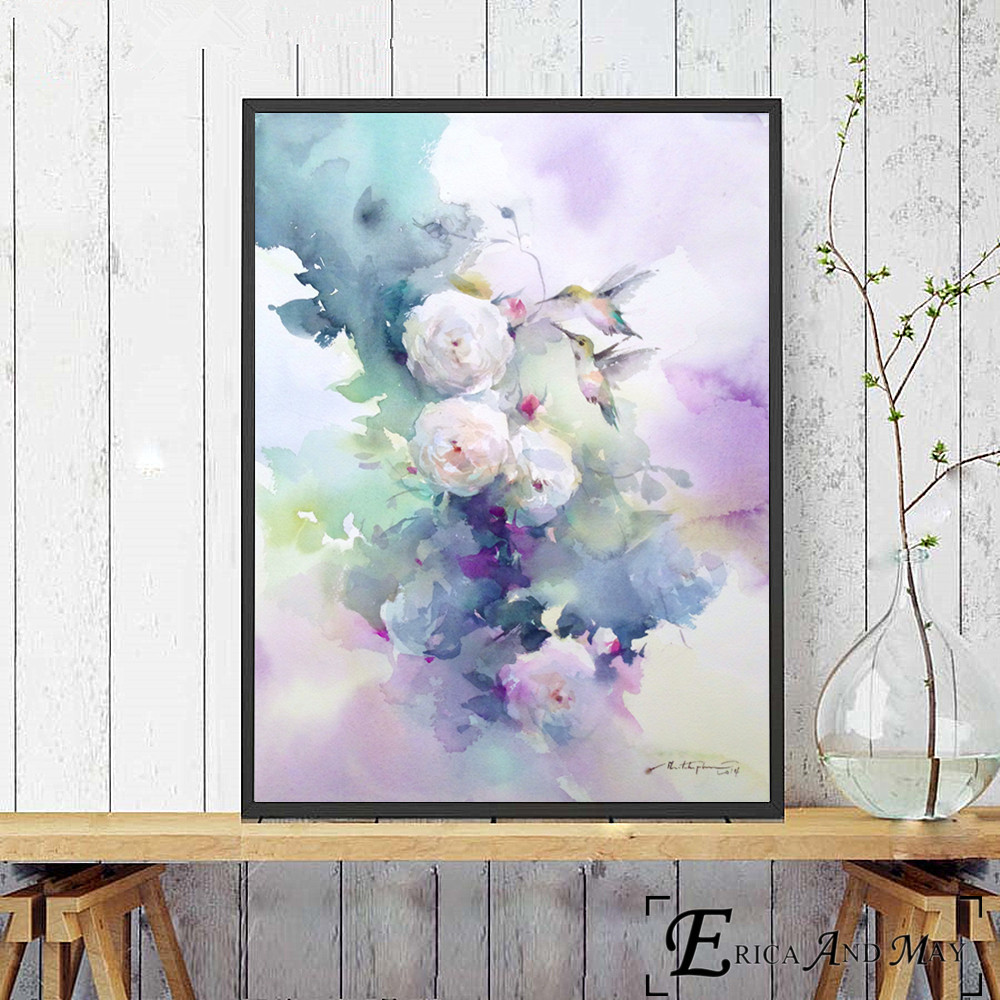 Flowers Ink Artwork Canvas Painting Posters And Prints For Living Kids Room No Framed Wall Art Picture Home Decor On Sale in Painting Calligraphy from Home Garden