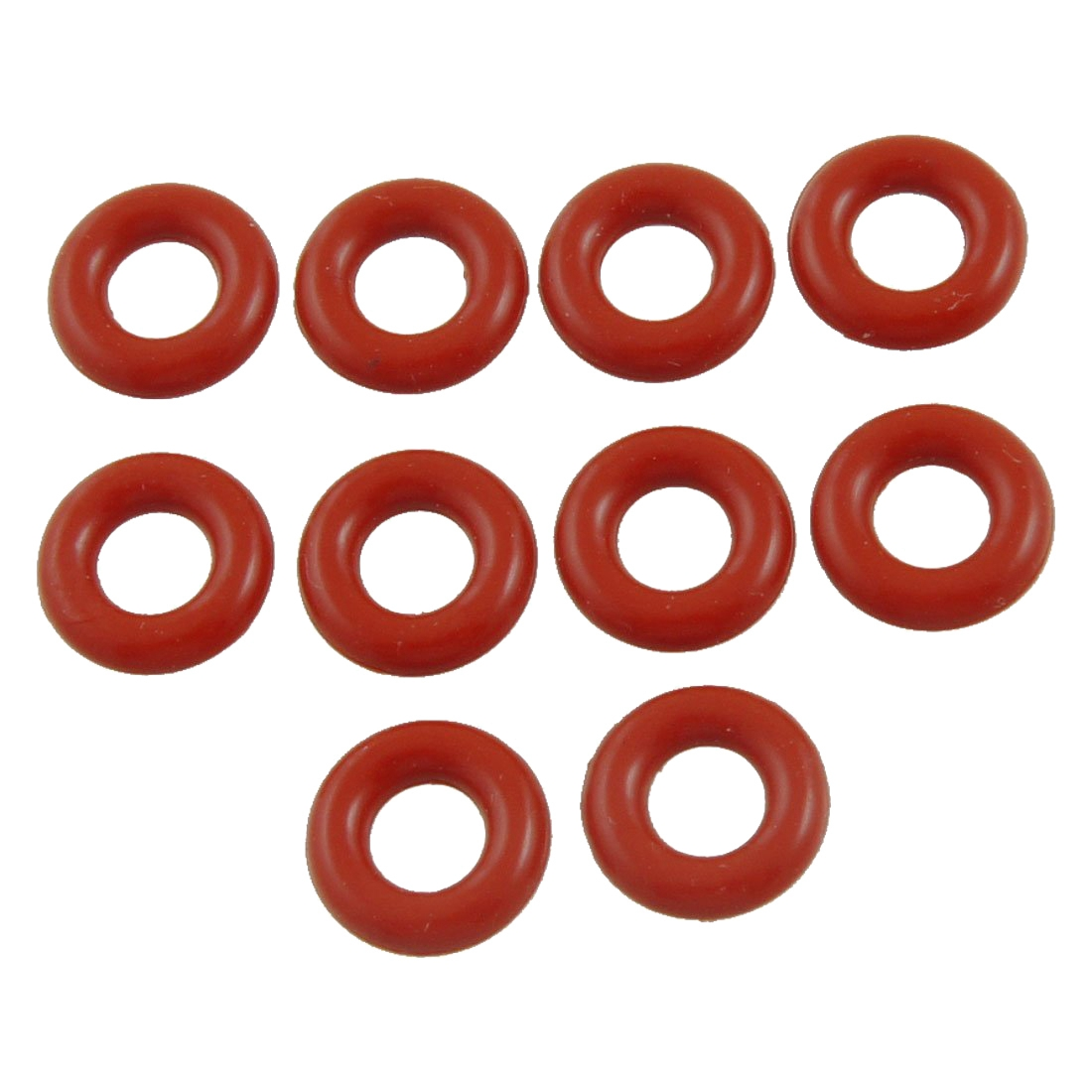 10mm x 3mm Silicone O Ring Oil Sealing Washers, Red, 10 Pieces