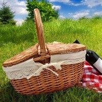 Durable Handmade Willow Wicker Knit Basket Picnic Shopping Storage Hamper w/ Lid +Handle