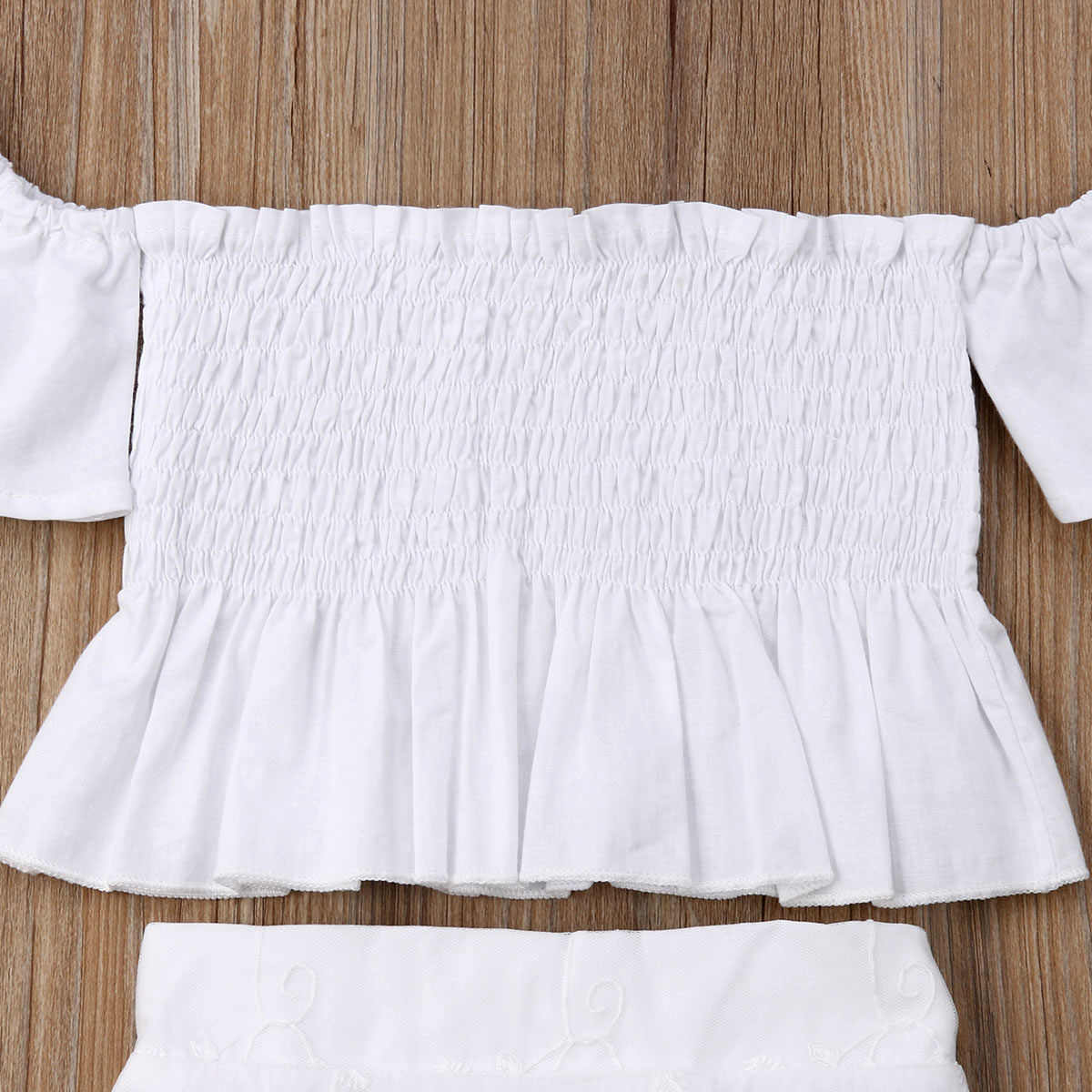 2019 Nieuwste Stijl Peuter Kids Baby Meisje Witte Kant Bloemen Tops Lange Rok Schattig 2Pcs Outfit Set Kleding Baby kleding