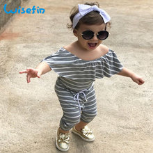Summer Girl Kids Clothing Jumpsuits Off-Shoulder Jumpsuit Romper For Girl Kids 2-6 Years Toddler Girl Clothing Striped D25