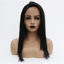 Short Lace Front Wigs Black Heat Resistant Fiber Bob Synthetic Lace Front Wigs Straight Glueless Short Wigs for Black Women все цены