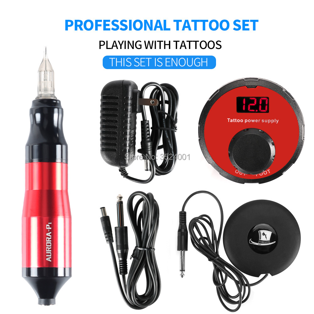 Professional Tattoo Machine Rotating Pen Suit Kit Tattoo Pen Magician Power Foot Pedal Tattoo Supply Free