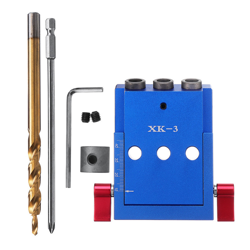 XK 3 Pocket Hole Jig Kit 3 Holes Woodworking Drill Guide Aluminium Oblique Drill Guide Locator