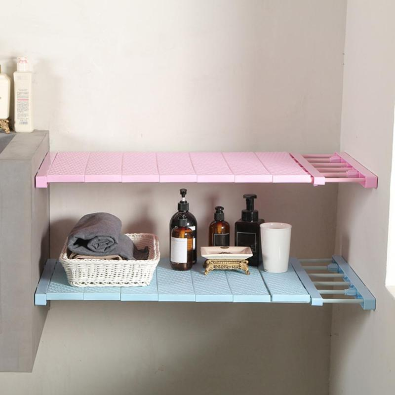 Adjule Closet Organizer E Saving Storage Shelf Wall Mounted Wardrobe Cabinet Layer Dividers 3 Sizes Plastic Kitchen Rack