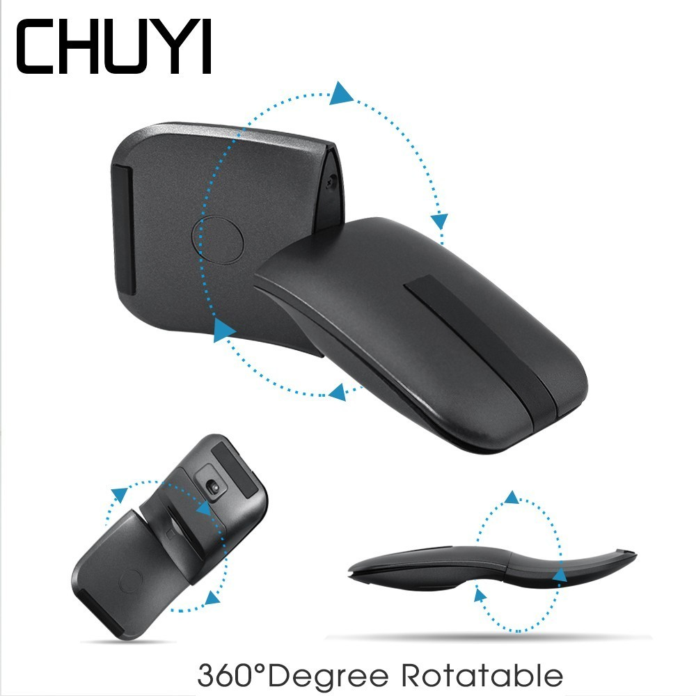 Galleria fotografica CHUYI 2.4Ghz Mouse Senza Fili 360 Gradi Girevole Pieghevole USB Computer Mause Ottico Ultra-sottile Arc Touch Mouse Per <font><b>microsoft</b></font> PC