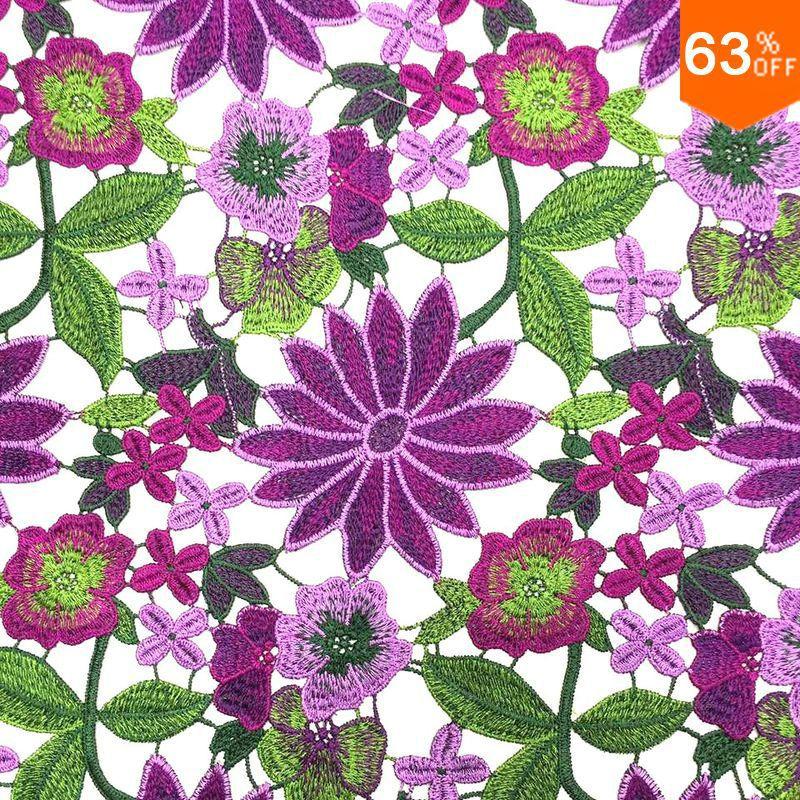 La plupart des nouveaux arrivée complexe broderie dentelle fleur Pourpre vert feuille broderie tissu nouvelle guipure cordon dentelle guipure tissu dernière