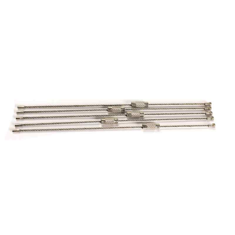 5 Pcs สแตนเลสสตีลสายพวงกุญแจสายไฟเชือก Key carabiner สายพวงกุญแจพวงกุญแจสำหรับเดินป่ากลางแจ้ง