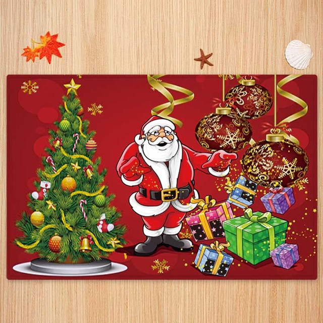 5 Size Christmas Door Mat lannel Carpet Room Anti Slip Kitchen Bathroom Pad Door Area Rug Cushion 2019 Christmas Santa Floor Mat 1