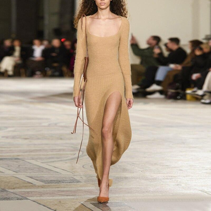 Ourlet Fendu Manches Mince Sexy Longues Moulante Féminine Carré Vêtements Col Tricot Nouveau Khaki Robe Taille Robes Haute FKl1cJ