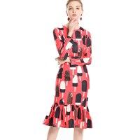 Runway Designer 2019 Spring Summer Dresses Women's High Quality Long Sleeve Slim Chocolate Ice Cream Elegant Trumpet Dress