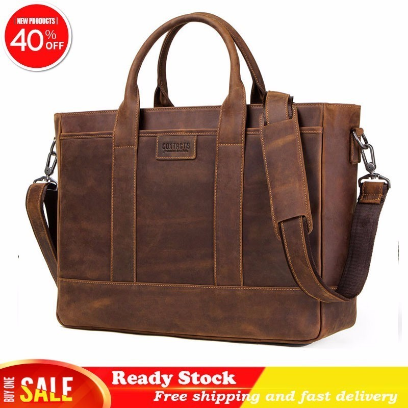 Messenger Bag Men Leather Man Luxury Brand Business Affairs Briefcase Crazy Horse Can Dress 15.6 Inch Computer Male Package Best