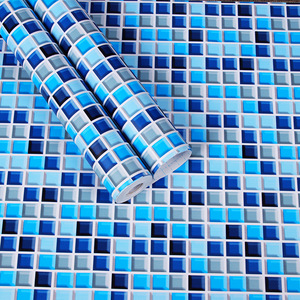 Image 2 - Sale Shower Room Moasic Self Adhesive Wallpaper Pvc Waterproof Wall Sticker Fashion Kitchen Oilproof Tile Stickers Bathroom