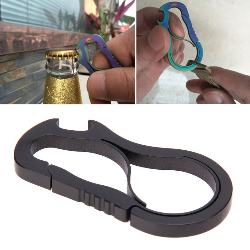 Titanium Alloy Carabiner Hook EDC Mini Bottle Opener Outdoor Carabiner Metal Fast Buckle Keychain Camping Climbing Accessories