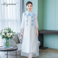 2019 Spring Summer New Modern Cheongsam White Embroidery Qi Pao Long Women Traditional Chinese Dress Qipao Casual Oriental Style