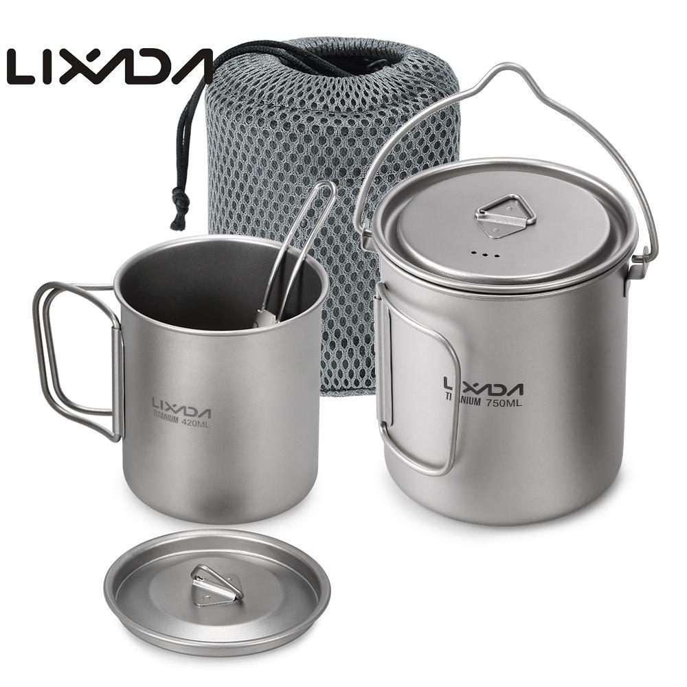 Lixada Outdoor Titanium Tableware 750ml Pot 420ml Water Mug Cup with Lid Handle Folding Spork for