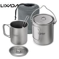 Lixada Outdoor Titanium Tableware 750ml Pot 420ml Water Mug Cup with Lid Handle Folding Spork for Camping Picnic Hiking Travel