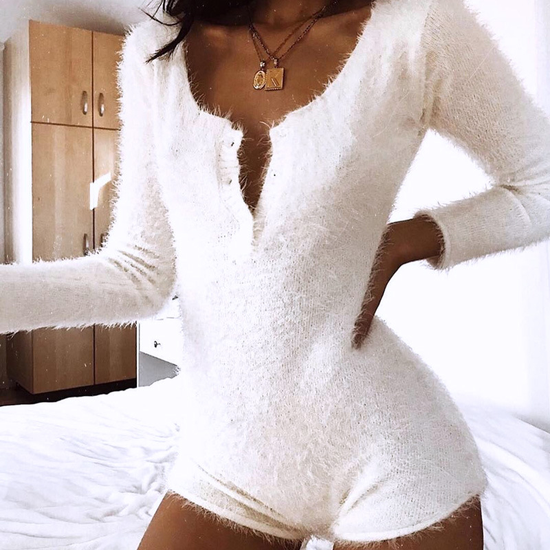 Newest Fashion Bodies Sexy V Neck Button Velvet Bodysuit Women Skinny Fitted Winter Fleece Fur Playsuit Female Velour Jumpsuit R
