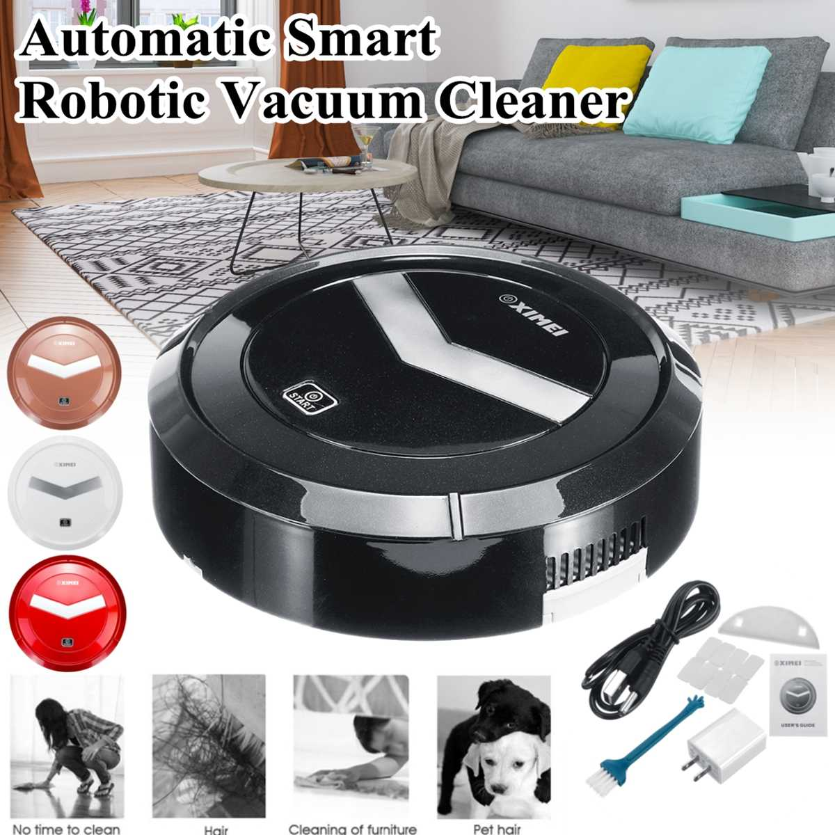 Smart Cleaning Robot Vacuum Cleaner Sweeping Machine Floor Dirt Dust Hair Mute Intelligent Automatic Induction For House Clean Household Appliances