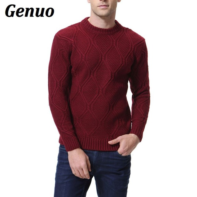 Winter Autumn Sweater Slim Fit Men Pullover Casual Knitted Long Sleeve Sweaters Jumper Male Elastic Basic Tops Genuo pull homme