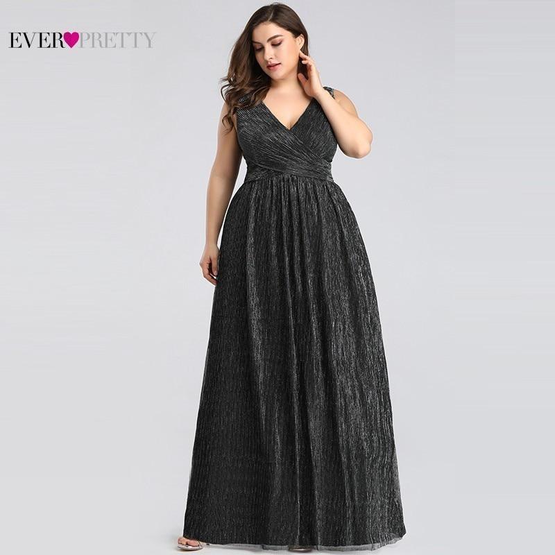 Grande taille robes De soirée élégantes longue jamais jolie EP07791BK a-ligne v-cou sans manches noir robes De soirée formelles Robe De soirée