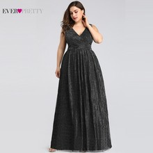 Plus Size Elegant Evening Dresses Long Ever Pretty EP07791BK A-Line V-Neck Sleeveless Black Formal Party Dresses Robe De Soiree