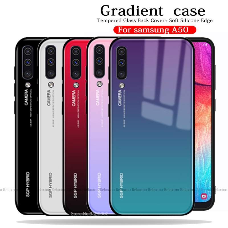 Gradient Phone Case For Samsung <font><b>A50</b></font> Case Tempered Glass Back Cover For Samsung Galaxy <font><b>A50</b></font> A505F A505 A 50 50A funda Fundas Coque image
