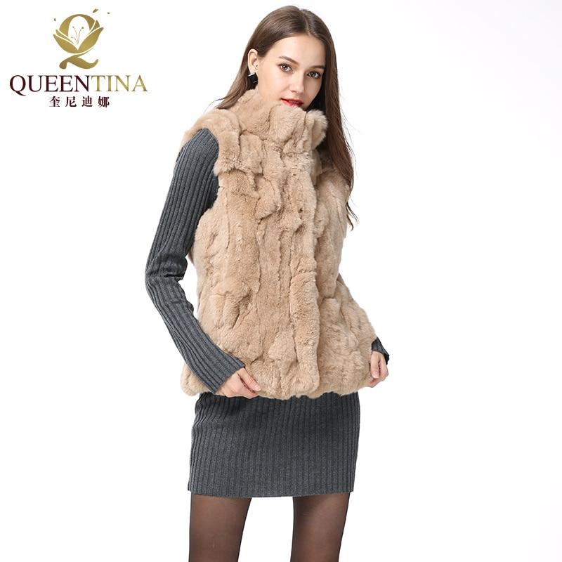 2018 Women Real Rex Rabbit Fur Vest Stand Collar Genuine Natural Rabbit Real Fur Coat Autumn